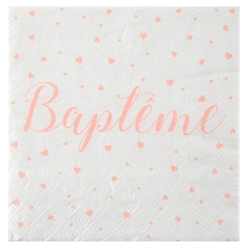 20 SERVIETTES BAPTEME CORAIL