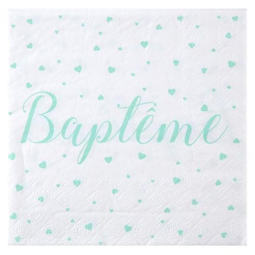 20 SERVIETTES BAPTEME MINT