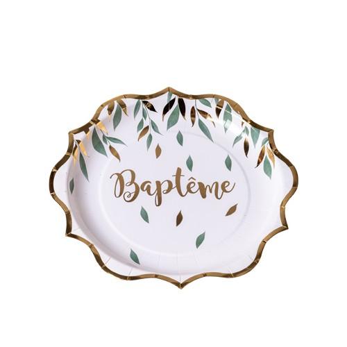 8 ASSIETTES BAPTEME VEGETALE