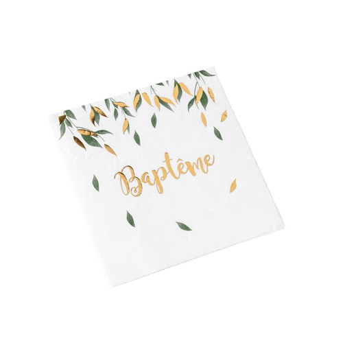 16 SERVIETTES BAPTEME VERT/OR