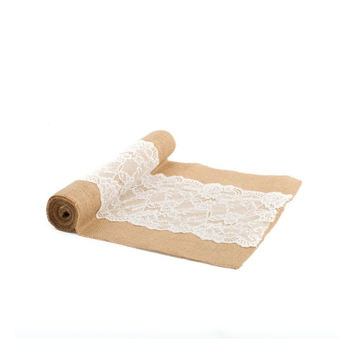 CHEMIN DE TABLE JUTE DENTELLE