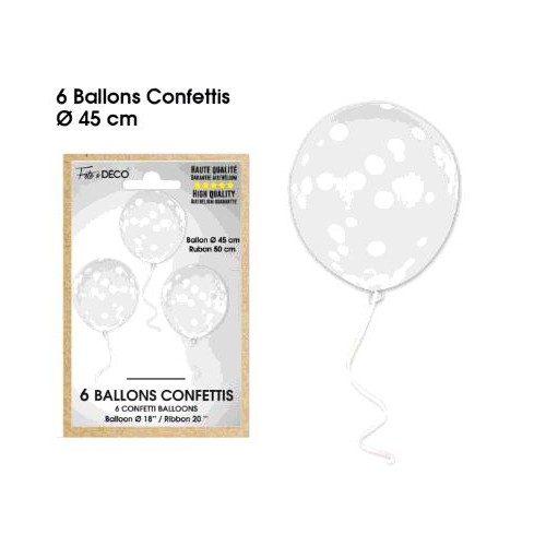 6 BALLONS CONFETTIS BLANC