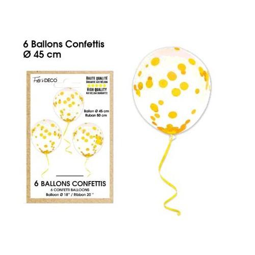 6 BALLONS CONFETTIS OR