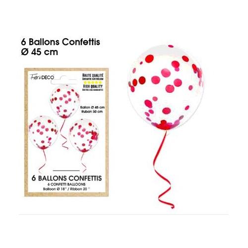 6 BALLONS CONFETTIS ROUGE