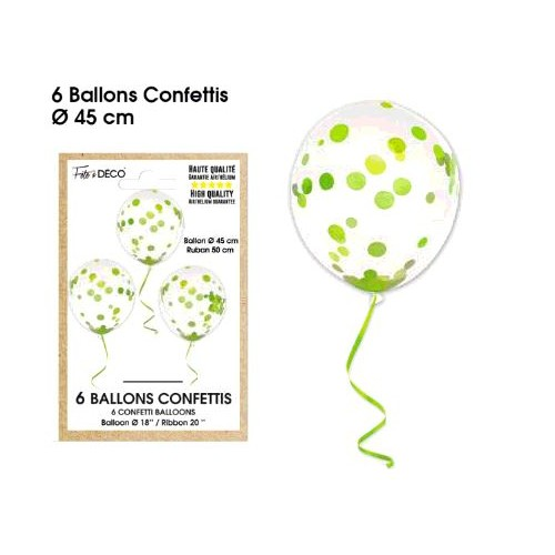 6 BALLONS CONFETTIS VERT