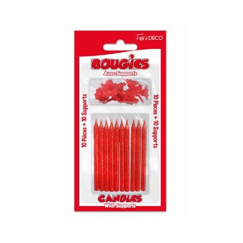 BOUGIES PAILLETTEES ROUGE.X10