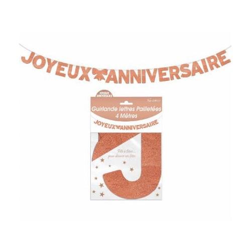 GUIRLANDE LETTRES JOYEUX ANNIVERSAIRE CUIVRE 4 METRES