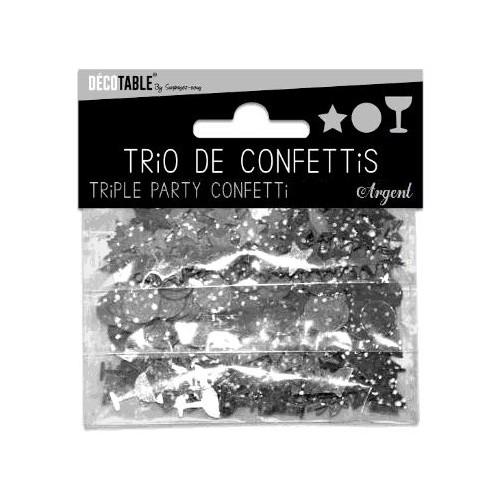 TRIO CONFETTIS ARGENT