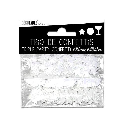 TRIO CONFETTIS BLANC ALBATRE