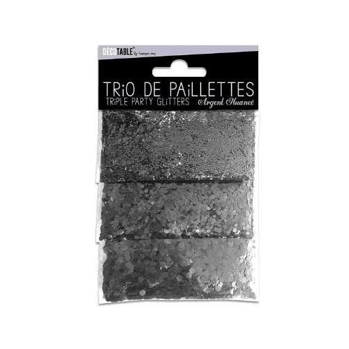 TRIO PAILLETTES ARGENT NUANCE