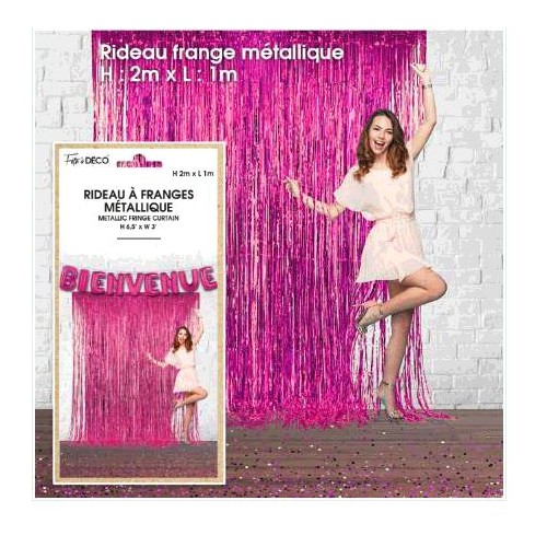 RIDEAU FRANGES METALLIQUE FUCHSIA