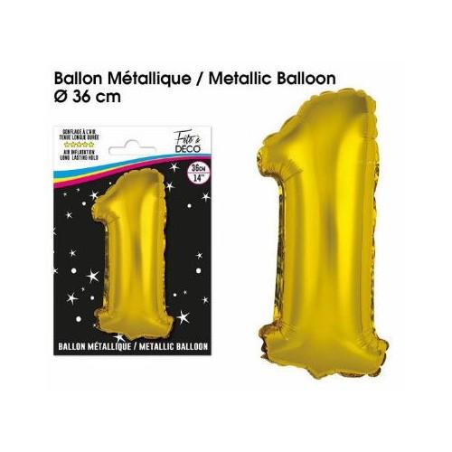 BALLON METALLIQUE OR CHIFFRE 1