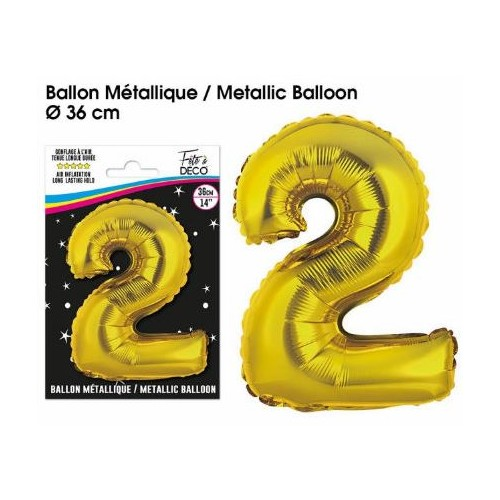 BALLON METALLIQUE OR CHIFFRE 2