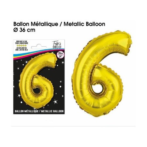 BALLON METALLIQUE OR CHIFFRE 6