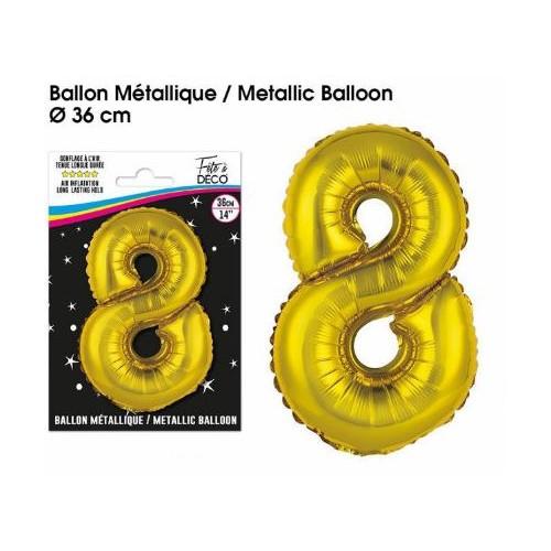 BALLON METALLIQUE OR CHIFFRE 8