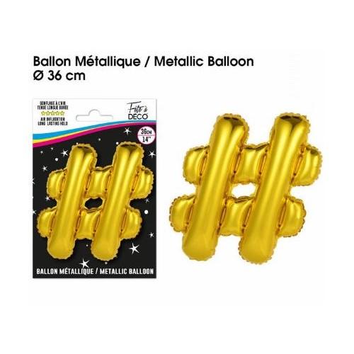 BALLON METALLIQUE OR HASHTAG