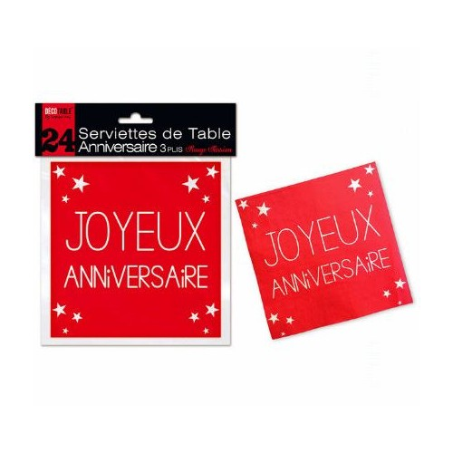 24 SERVIETTES ANNIVERSAIRE ROUGE PASSION