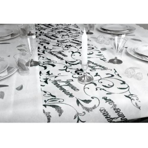 CHEMIN TABLE JOYEUX ANNIVERSAIRE NOIR