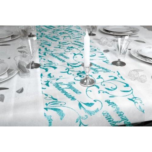 CHEMIN DE TABLE JOYEUX ANNIVERSAIRE BLEU OCEAN