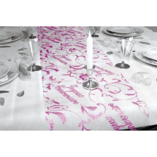 CHEMIN DE TABLE JOYEUX ANNIVERSAIRE FUCHSIA