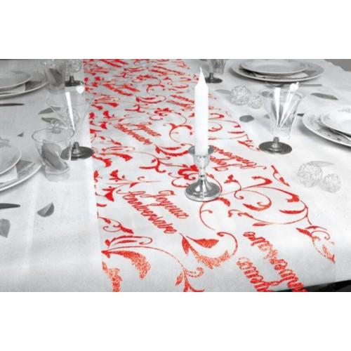 CHEMIN DE TABLE JOYEUX ANNIVERSAIRE ROUGE