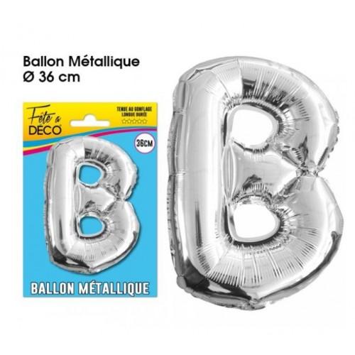 BALLON METAL ARGENT LETTRE B