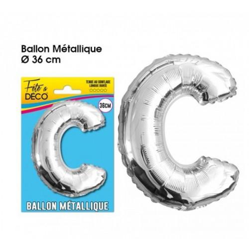 BALLON METAL ARGENT LETTRE C