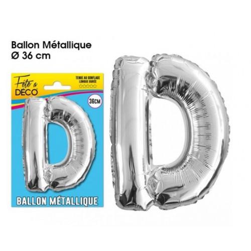 BALLON METAL ARGENT LETTRE D