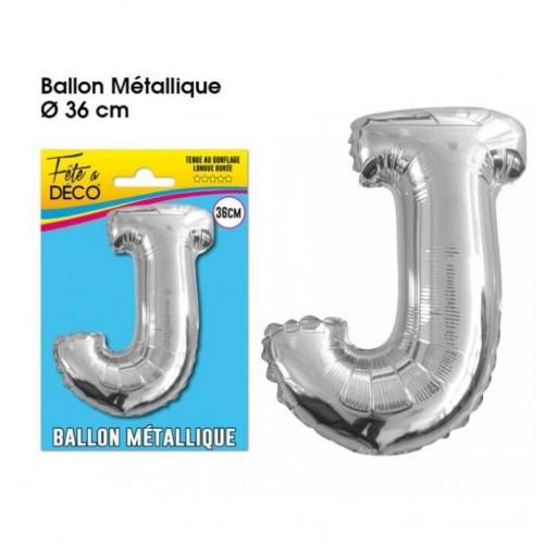 BALLON METAL ARGENT LETTRE J