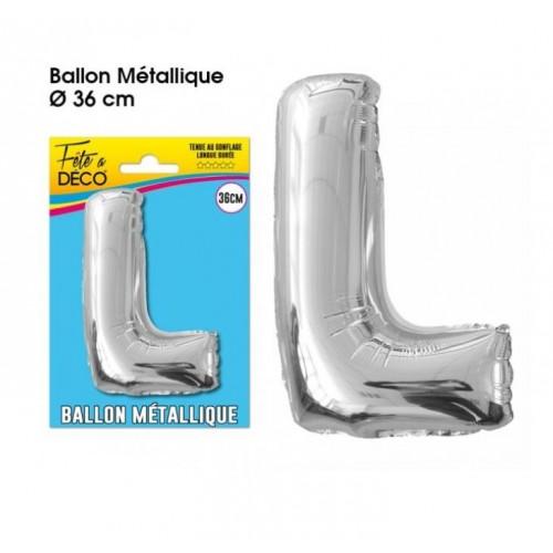 BALLON METAL ARGENT LETTRE L