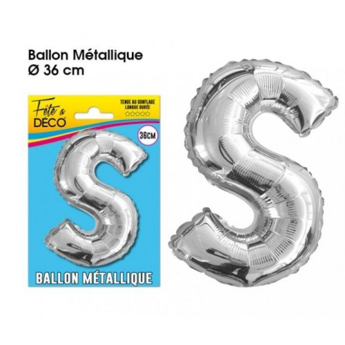 BALLON METAL ARGENT LETTRE S