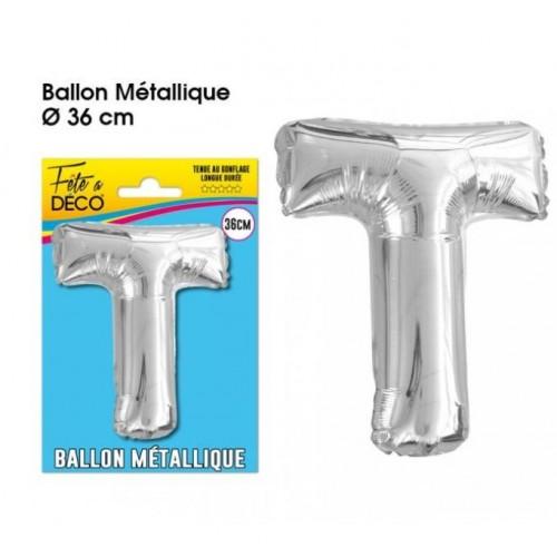 BALLON METAL ARGENT LETTRE T