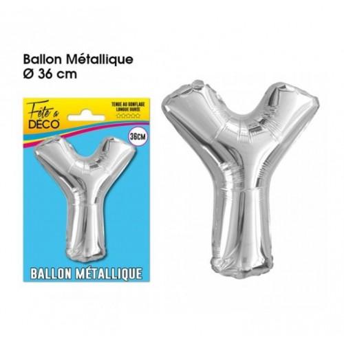BALLON METAL ARGENT LETTRE Y
