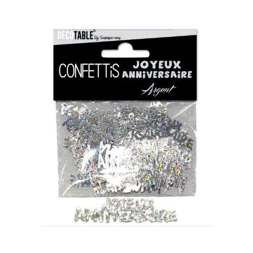 CONFETTIS TABLE JOYEUX ANNIVERSAIRE ARGENT