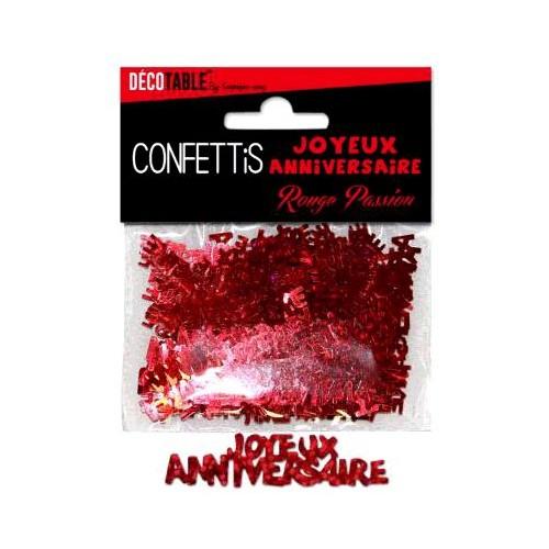 CONFETTIS TABLE JOYEUX ANNIVERSAIRE ROUGE