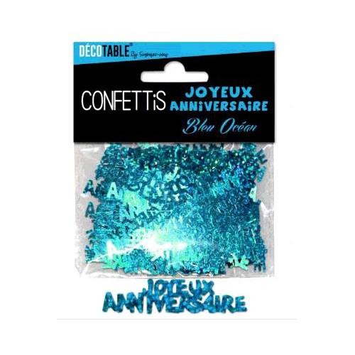 CONFETTIS TABLE JOYEUX ANNIVERSAIRE BLEU OCEAN
