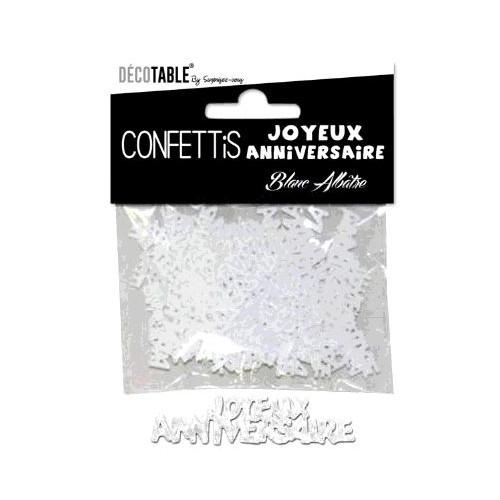 CONFETTIS TABLE JOYEUX ANNIVERSAIRE BLANC