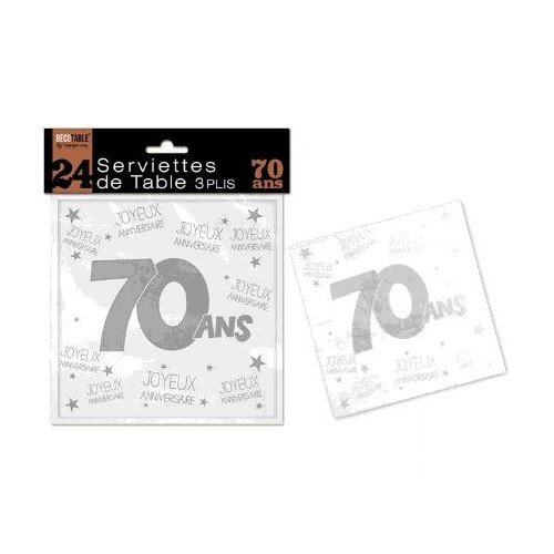 SERVIETTES DE TABLE 70 ANS 3 PLIS