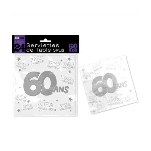 SERVIETTES DE TABLE 60 ANS 3 PLIS