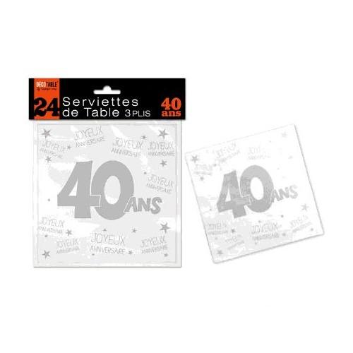 SERVIETTES DE TABLE 40 ANS 3 PLIS