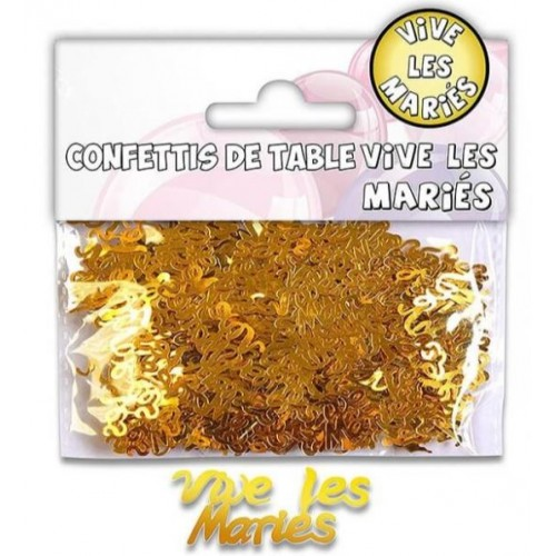 CONFETTIS TABLE VIVE LES MARIES OR