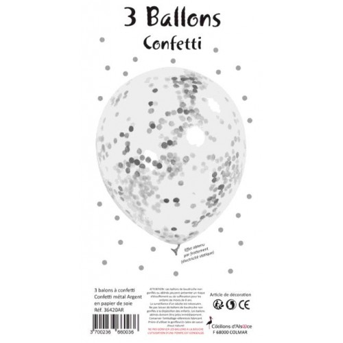 SACHET 3 BALLONS CONFETTI ARGENT