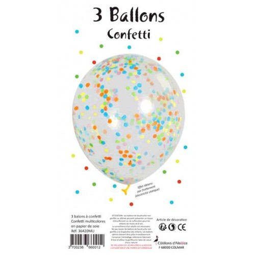 3 BALLONS TRANSPARENTS CONFETTI MULTICOLORES