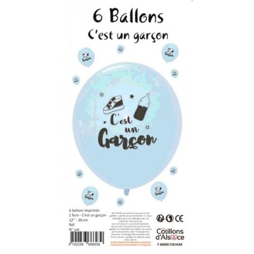 6 BALLONS C EST UN GARÇON DIAMETRE 30CM
