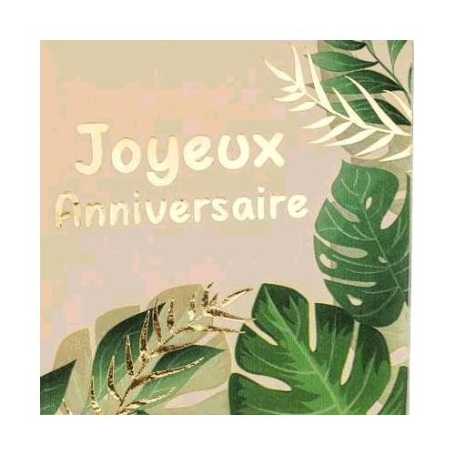 16 SERVIETTES JOYEUX ANNIVERSAIRE SAVANE