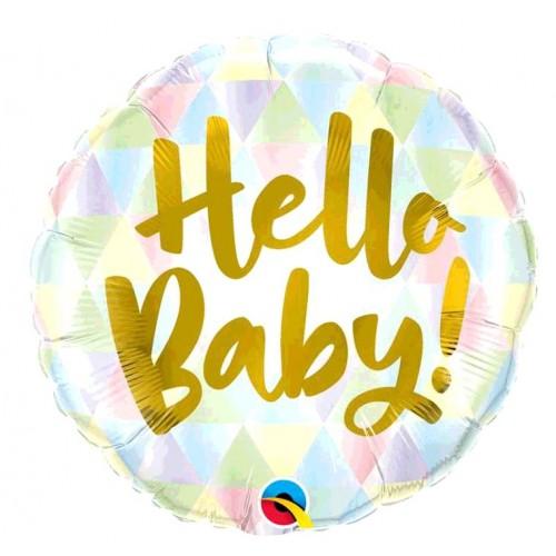 BALLON ALU HELLO BABY DIAMETRE 45CM