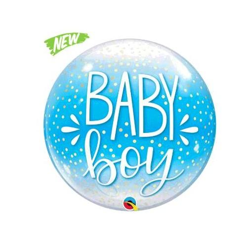 BALLON BUBBLE BABY BOY BLUE DIAMETRE 56CM