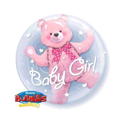 BALLON BUBBLE BABY PINK BEAR