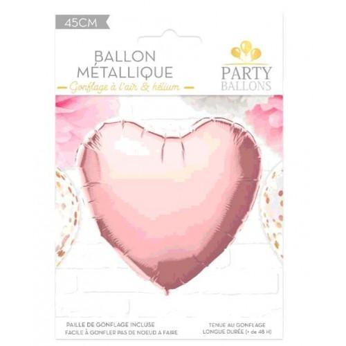 BALLON METAL ROSE DORE COEUR