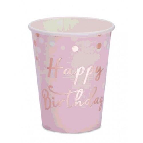 8 GOBELETS HAPPY BIRTHDAY ROSE